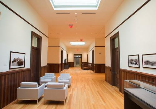 Within Old Main's famed cruciform hallway are displays of artwork and artifacts provided by the Arizona State Museum, the UA Museum of Art, the Center for Creative Photography, the Mineral Museum and UA Special Collections.