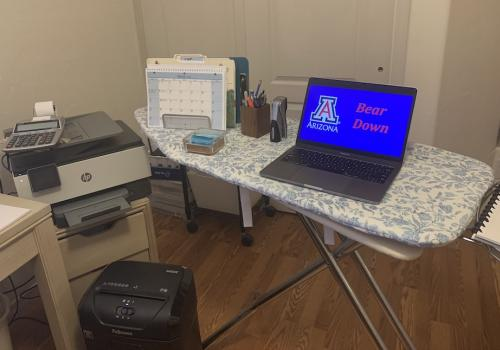 Check out my makeshift standing desk. – Jennifer Lawrence, business and finance manager in the Department of Neuroscience and chair of the Appointed Professionals Advisory Council