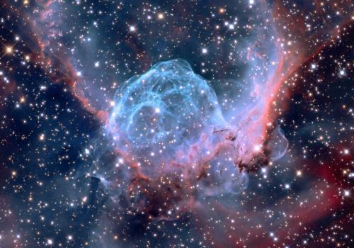 """UA astrophotographer Adam Block consistently takes stunning images such as this one, which is of the NGC 2359 nebula, also known as """"Thor's Helmet."""" For this work, he has gained an international following."""