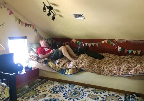 "This is the ""lofftice."" It is more of a loft for overflow visitors, and my wife was decorating it the last few weeks for more visitors. Plans changed when my daughter in the Peace Corps was told she had to head home, so that may be her room for a while. I"