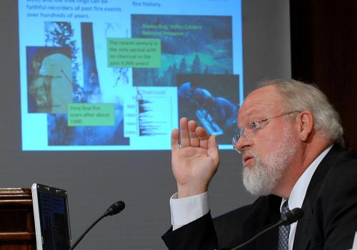 Swetnam testifying at hearing considering scientific assessments of the impact of global climate change on wildfire activity in the United States.