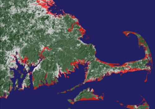 The red and pink areas in this image of the coasts of the states of Massachusetts and Rhode Island indicate the areas that would be submerged if the sea level rose about 20 feet . Courtesy of Jeremy Weiss and Jonathan Overpeck, The University of Arizona.