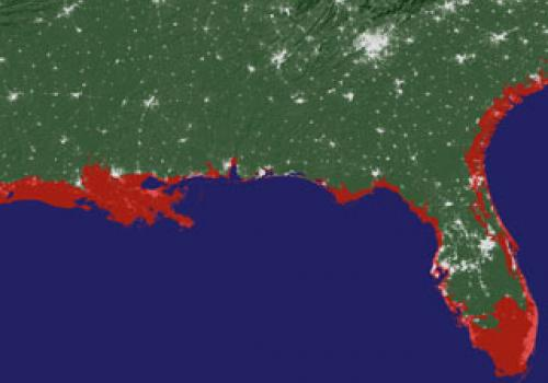 The pink and red areas in this image of areas along the Gulf of Mexico and Florida indicate areas that would be submerged if the sea level rose about 20 feet . Courtesy of Jeremy Weiss and Jonathan Overpeck, The University of Arizona.
