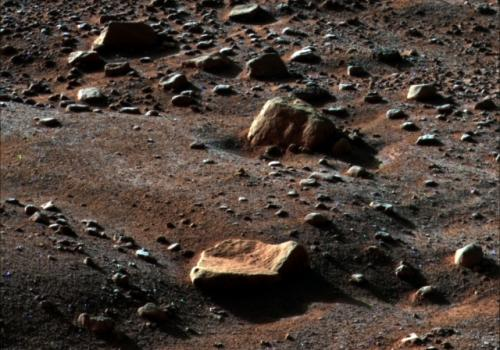 Water frost appears in this image the Phoenix Mars Lander's Surface Stereo Imager took on Aug. 14, 2008, at 6 a.m. local Mars time on Sol 79, the 79th Martian day after landing. The frost begins to disappear shortly after 6 a.m. as the sun rises on the l
