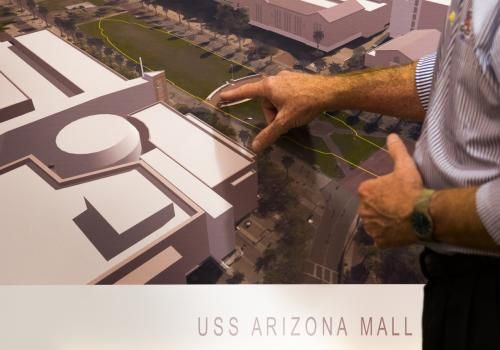 The USS Arizona Mall Memorial will provide information about the attack on Pearl Harbor, including the USS Arizona.