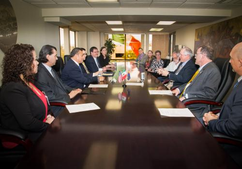 Mexico's Consul General in Tucson Ricardo Pineda and University of Arizona President Robert C. Robbins discuss the agreement for UA College of Law to teach U.S. law to Mexican diplomats.