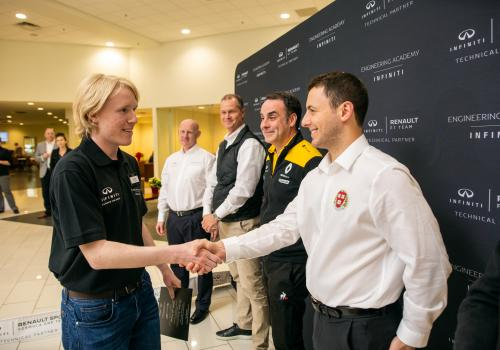 Schreiber with INFINITI Engineering Academy leaders.