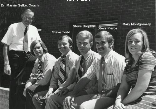 Steve Pierce, second from right, was a member of professor Marvin Selke's 1971 livestock judging team. Others include Selke, Howard Barnes, Steve Todd, Steve Brophy, Pierce and Mary Montgomery.