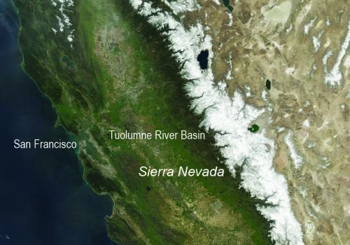 A satellite image of the snow cover in the Sierra Nevada in California and Nevada from 2010