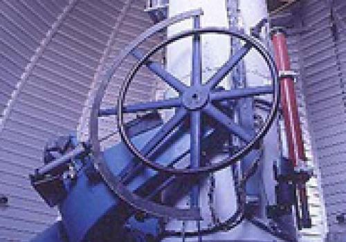 Interior view of the 0.9-meter  Spacewatch telescope on Kitt Peak, Ariz.