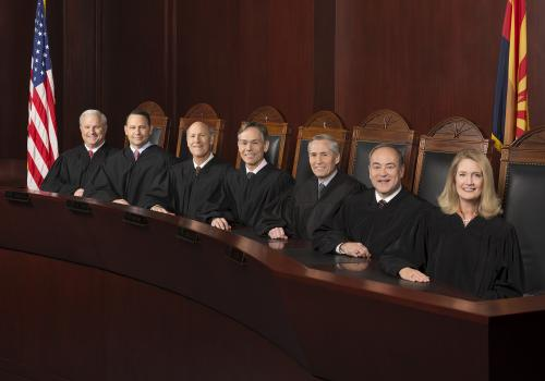 The Arizona Supreme Court, made up of Justice Robert Brutinel, Justice John R. Lopez IV, Vice Chief Justice John Pelander, Chief Justice Scott Bales, Justice Andrew Gould, Justice Clint Bolick and Justice Ann A. Scott Timmer, considered an amicus brief wr