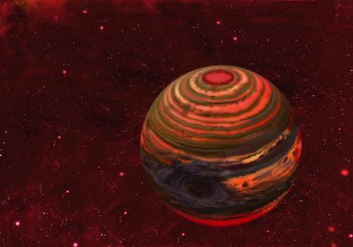 An artist's conception of 2MASS-2139, one of the six brown dwarfs monitored over the course of a year with the Spitzer and Hubble space telescopes in the Extrasolar Storms program. Astronomers believe that a massive storm several times the size of Jupiter