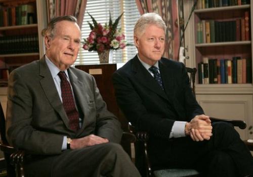 Presidents George H.W. Bush  and Bill Clinton