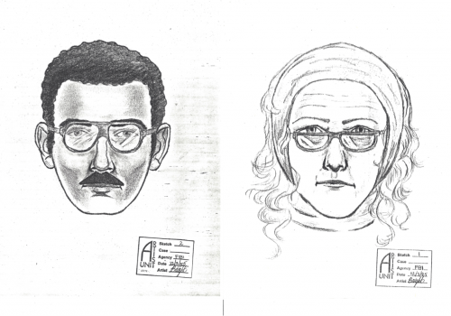 A Dec. 6, 1985, edition of the Arizona Daily Star included this sketch of the suspects. They were described as a woman in her mid-50s with shoulder-length reddish-blond hair, wearing tan bell-bottom slacks, a scarf on her head and a red coat, and a man wi