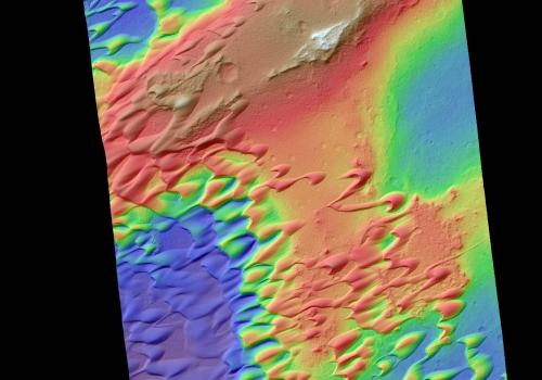 Digital Terrain Model of the Nili Patera dune field on Mars. Elevations range from as low as 180 feet  to 900 feet .