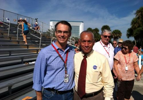 Dante Lauretta with NASA chief Charles F. Bolden Jr. in November 2013 at the launch of the MAVEN mission in Cape Canaveral, Florida. Bolden will be the featured speaker on Friday for the UA's Commencement.