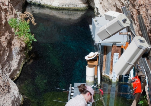 Graduate Student Ambre Chaudoin observes Devils Hole pupfish on a research platform installed above the pool that forms the cave entrance.