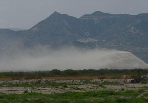 Dust blowing from a tailings site in Mexico.