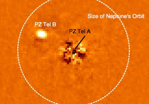 The sun-like star, PZ Tel A and its brown dwarf companion, PZ Tel B. The vast majority of light from PZ Tel A has been removed from this image using specialized image analysis techniques. For size comparison, the size of Neptune's orbit is shown; PZ Tel