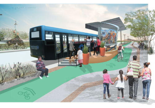 """Livable Streets for Vibrant Communities"" recommends upgrades to bus rapid transit along First Avenue to encourage mobility and incorporate creative infrastructure with multimodal forms of transportation."