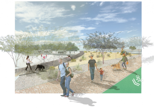 The students envisioned activity development along First Avenue that incorporates detention basins with existing topography and uses the feature to encourage native vegetation and social interaction.