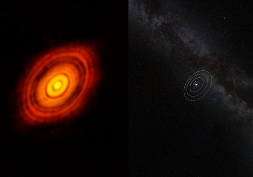 The protoplanetary disk around HL Tauri, a million-year-old sunlike star located approximately 450 light-years from Earth in the constellation of Taurus, dwarfs our solar system . Taken by the ALMA array, this image reveals a series of concentric and brig