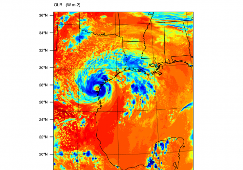 A computer model simulation of outgoing longwave radiation  for Hurricane Harvey at 5 p.m. CDT  on Aug. 25. Lower values of OLR are shown in shades of blue and represent deep thunderstorm clouds. Higher values of OLR, shown in shades of red, represent cle