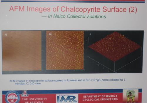 Nano-scale images of a chemical's positive effects on copper particles show widespread bubbling, which enables the copper to pop to the surface and be collected.