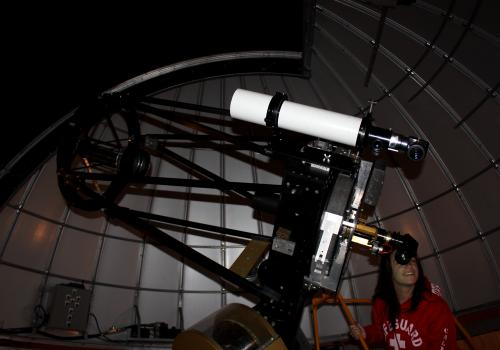 At the SkyCenter, students are able to direct the telescope to find objects in the sky by themselves.