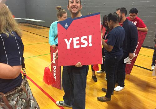 """UA staff, students and volunteers visited three southern Arizona campuses on Monday to let high school seniors know that the University answered """"yes"""" to their applications."""