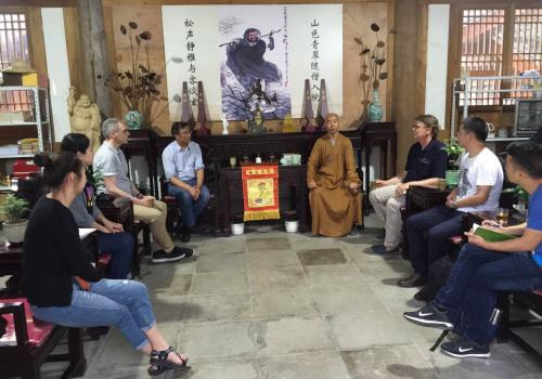 Tea and conversation at Yanfu  Monastery in Wuyi with the abbot, Professor Qiu of Jiliang University, professor Paul Crowe of Simon Fraser University and UA professor Albert Welter and students