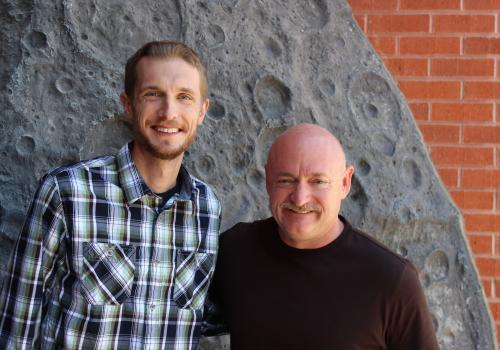 Filmmaker Jason Davis  with the film's narrator, Capt. Mark Kelly, at the Flandrau Science Center and Planetarium.