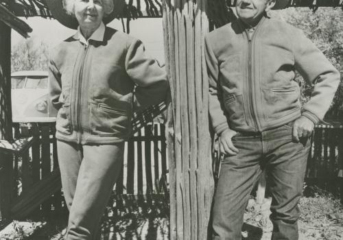 A portrait of Lucile and Charles Herbert in the ramada on their property, featured in a 1972 edition of Arizona Highways