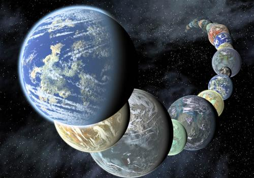 Artist concept showing a montage of terrestrial worlds that may form around neighboring sun-like stars.