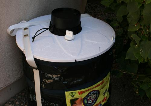UA researchers placed mosquito traps such as this one on porches and in parks to monitor mosquito activity in Maricopa County.