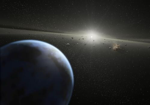 An artist's impression of the asteroid belt, a region between the inner planets and outer planets where thousands of asteroids are found orbiting the sun. )