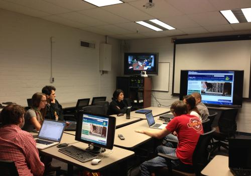 UA students attended class with their Western Michigan University counterparts via video conference.
