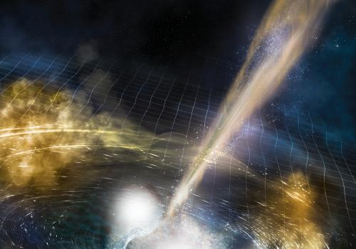 Cataclysmic collision: An artist's illustration of two merging neutron stars. The rippling space-time grid represents gravitational waves that travel out from the collision, while the narrow beams show the bursts of gamma rays that are shot out just secon