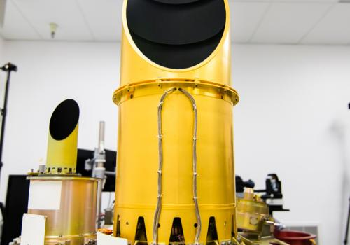 The UA-built camera suite, OCAMS, sits on a test bench that mimics its arrangement on the OSIRIS-REx spacecraft. The three cameras that compose the instrument — MapCam , PolyCam and SamCam — are the eyes of the mission. They will map the asteroid Bennu, h
