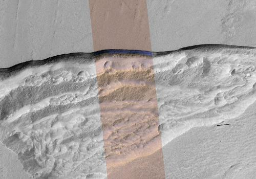 A cross section of underground ice is exposed at the steep slope that appears bright blue in this enhanced-color view from the HiRISE camera on NASA's Mars Reconnaissance Orbiter. The scene is about 550 yards wide. The scarp drops about 140 yards from the