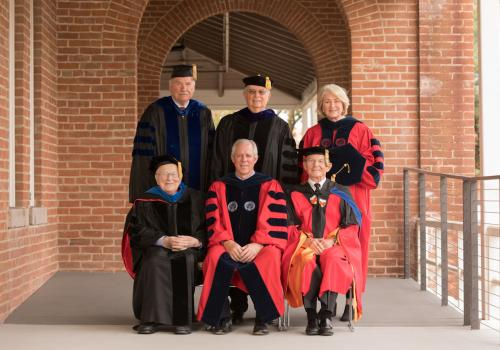 Six UA presidents gathered in November 2017 for the installation of Robert C. Robbins:  John Paul Schaefer , Manuel Trinidad Pacheco  and Ann Weaver Hart ;  Henry Koffler , Robbins  and Peter Likins .
