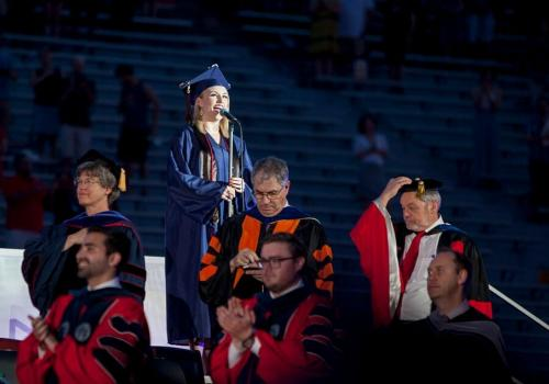 Sarah Julia Ambrose, a Bachelor of Fine Arts graduate, led the stadium in the singing of the national anthem.