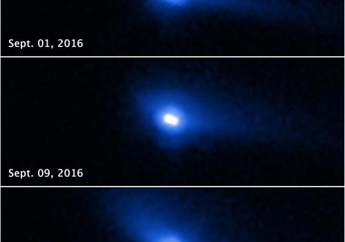 This set of images from the ESA/NASA Hubble Space Telescope reveals two asteroids with cometlike features orbiting each other. The apparent movement of the tail is a projection effect due to the relative alignment among the sun, Earth and 288P changing be