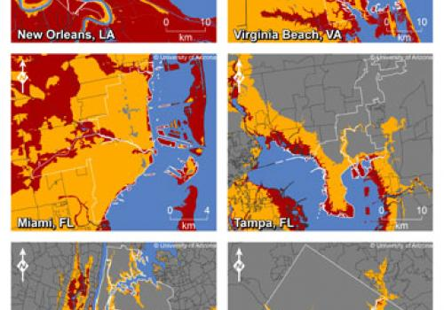 This map shows where increases in sea level could affect New Orleans, Virginia Beach, Va., Miami, Tampa, Fla., New York and Washington, D.C. The colors indicate areas along the coast that are elevations of 1 meter or less  or 6 meters or less  and have c