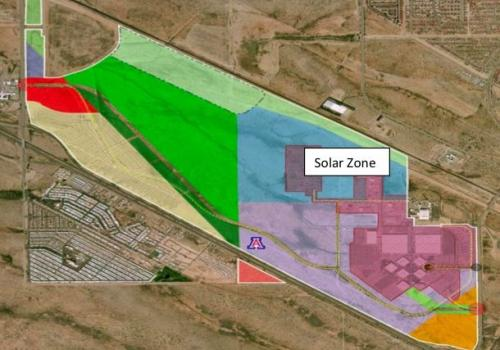The Solar Zone at the UA Tech Park resides on a plot of land amounting to about 200 acres. The site has just welcomed its first tenant.
