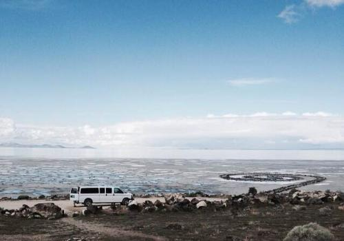 """Robert Smithson's """"Spiral Jetty,"""" located in Utah, is among the sites Magrane and his students visited during a field course."""
