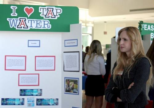 "The ""I Heart Tap Water"" project was named one of this year's winners in the Honors Project Showcase. Kristen McCormack and her colleagues are proposing a campaign that would test tap water around campus while encouraging the community to use water fountai"