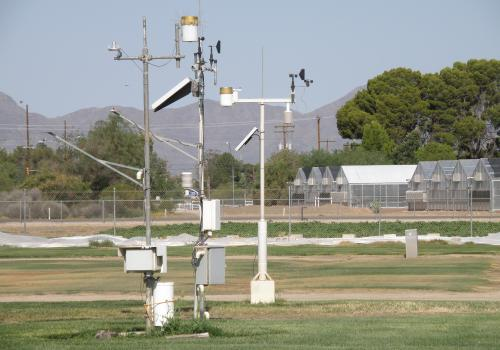 The Arizona Meteorological Network, or AZMET, is a near-real-time agricultural weather information system with 28 stations located throughout Arizona, including this one at the Karsten Turfgrass Research Facility in Tucson. Scientists can combine AZMET da