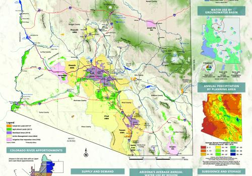The WRRC's Arizona Water Map Poster offers a reliable and concise visual representation of Arizona's water resources. The map reflects the current state of water resources in Arizona, as well as a culture of management and planning unique to the state. It
