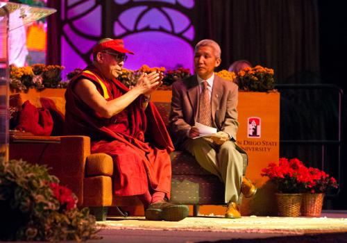 His Holiness the 14th Dalai Lama, with his translator Thupten Jinpa, answers audience questions during his April 19 lecture at San Diego State University.